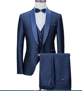 2020 New Navy Blue Mens Suits 3 Pieces Formal Business Blazers Tuxedos Shawl Lapel For Wedding Groom Man ( Jacket+Vest+Pants) C1007