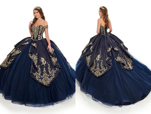 2021 Fashion Gold Embroidery Navy Quinceanera Prom dresses Ball Gown Detachable Sleeves Sweet 15 Cheap Party Formal Dress Evening Gowns