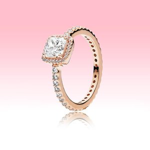 Rose gold plated Wedding RING CZ diamond Engagment Jewelry for pandora 925 Silver Square Sparkle Halo Ring Set with Original box