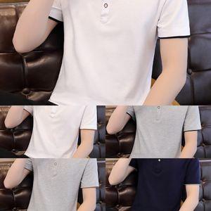 A4Ud2 2020 trendy short-sleeved TTop shirtsummer men's slim-fit cotton shirt lapel men's polo T half clothes top sleeve lz9YD