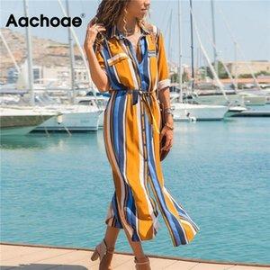 AACHOAE AŞAĞI AŞAĞI YAKA BADİLER BADİLER Şerit Gömlek Elbise Uzun Boho Plaj Elbise Rahat Uzun Kollu Zarif Parti Elbise Vestidos T200603