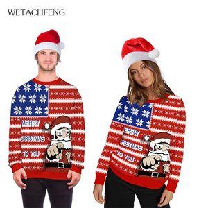 Moda feo divertido de la Navidad 3D Merry Chirtmas Para que imprimió los hombres de suéteres de gran tamaño unisex Parejas Puentes ropa de abrigo Tops