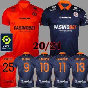 20 21 Maillot Montpellier HSC maillots de football 2020 2021 Delord de pied Savanier maillot manches courtes LECOMTE LABORD CHOTARD MAVIDIDI chemises de football