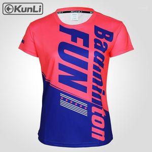 Camisa de tênis de mangas curtas de Kunli Camisa de esportes ao ar livre Badminton Roupas Running Roupas T-shirt Basquetebol Voleibol Camiseta1