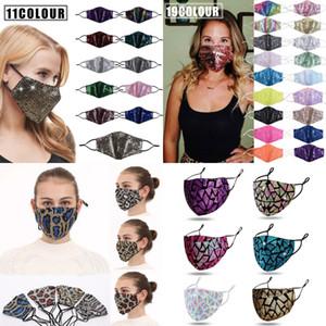Cubierta de la cara máscara de lentejuelas Bling de la manera 3D lavable reutilizable leopardo lentejuelas PM 2.5 Cuidado de la cara cubierta contra el sol del color oro brillante codo máscaras bucales