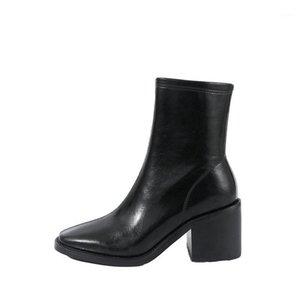 2021 New Women Square Tacones Partido Zapatos de boda Mujer Zipper Otoño Invierno Noche Club Zapatos Corta Boots Basic Boots1