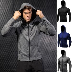 Quick-dry Fit Men's Running Sweatshirt Fitness Up Zip Hoodies Slim T Gym Shirts Dk7704tsg Mekvc