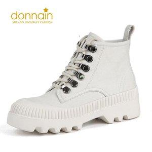 Scarpe da donna Donnain Scarpe da donna Canvas Lace Up 2020 Stivali bianchi alla caviglia antiscivolo Belle donne Stivali invernali da donna