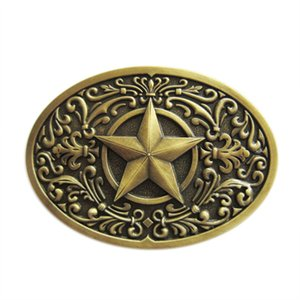 Vintage Bronze Plated Southwest Western Star Oval Belt Buckle Boucle de ceinture