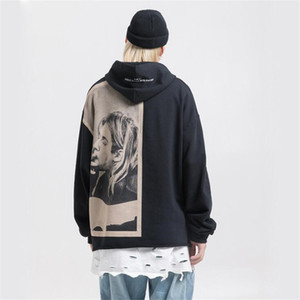 Nagri Kurt Cobain Imprimir Hoodies Homens Hip Hop Casual Punk Rock pulôver moletom com capuz Streetwear Moda Hoodie Tops 201116