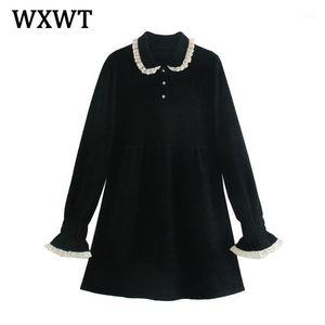 Wxwt Femmes Automne Bijoux de haute qualité Dress Robe Chic Dentelle Patchwork Collier Élégante Robes élégantes Dames Vestido LT24511