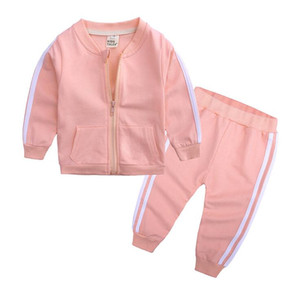 Baby Clothing Tracksuits Casual Kids Sports Coat Pants 2pcs Sets Long Sleeve Boys Activewear Solid Girls Outfits Boutique SEA DDC4922