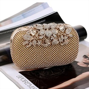 Golden Evening Clutch Bag Women sac Wedding Shiny Handbags Bridal Metal Rhinestone Clutches Bag Shoulder Banquet Purse
