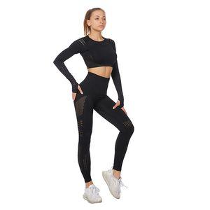 Women Sports Sets Gym Women's Tops Suits Long Sleeve Leggings Set Large Size Breathable Elastic Fitness Suit