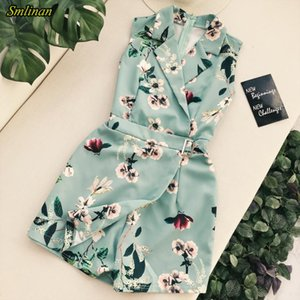 Smlinan Fashion Print Floral Vintage Bodysuits Jumpsuit Women Sexy Club Short Playsuits Female Summer Beach Wide Leg Jumpsuit