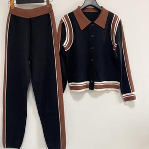 2021 Lapel pescoço de manga longa marca mesmo estilo designer casaco milan pista de duas peças das mulheres 1227-19