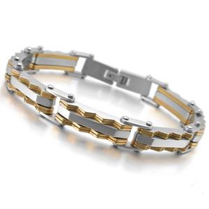 Fancy Polished Elegant Silver Gold Stainless Steel Biker Chain Bracelet Mens Bracelet Link Chain Motorcycle Bicycle Style Bracelet