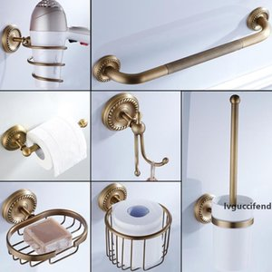 Bronze Bathroom Accessories Antique Toilet Brush Holder Vintage WC Roll Paper Holder Ceramic Double Cup Holder Brass Soap Dishes T200425