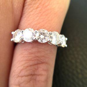 14K White Gold Moissanite Ring 1.5CTW F Color Engagement Ring Test Positive Moissanite Band Diamond Wedding Jewelry For Bride 201114