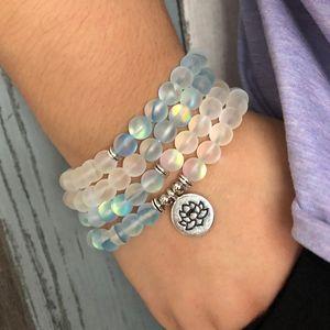 Matte Blue & White Color Sparkling Labradorite Stone Bracelet For Woman 108 Meditation Mala Lotus Necklace Om Bracelet