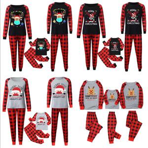 Aile Eşleştirme 2020 2021 Maske Noel Pijama Takımı Buffalo Ekose İki Adet Kıyafetler Çocuklar PJM Bluz + Pantolon Gece Elbise pijamalar E110301