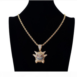 Gengar Pendant Necklace Designer Hip Hop Jewelry Full Rhinestone Bling Ice Out Gold Silver Necklaces With 24 Inch Chain For Women Men Gift