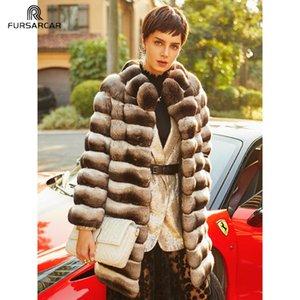 Chaqueta FURSARCAR invierno de las mujeres reales Chinchilla Rex piel abrigos naturales Wholeskin genuino Rex abrigos de piel personalizada