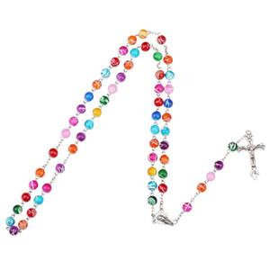 Nuevo religioso católico Rosario Rosario Collares Largos Jesús Cross Colgante 8mm Cadenas de cuentas para mujeres Hombres S Moda Christian Jeewely 85 K2