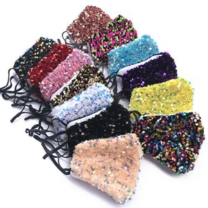 DHL Shipping Women Party Sequins Face Mask Washable Reusable Mouth Cover 16 Styles Outdoor Cycling Protective Masks Kimter-B235F