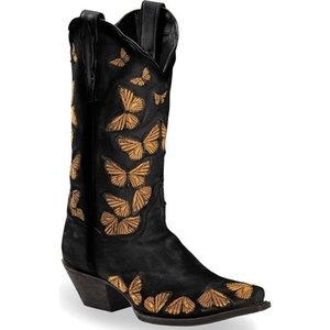 Autumn New Women's Mid-calf High Boots Butterfly Embroidered Western Cowgirl Boots Vintage Distressed 3cm High Heel Ladies