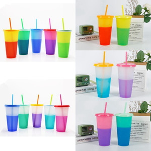 10 Styles 24oz Color Changing Cup Magic Plastic Drinking Tumblers with Lid Straw Reusable Candy Colors Cold Cup Water Bottle CYZ2875 30Pcs