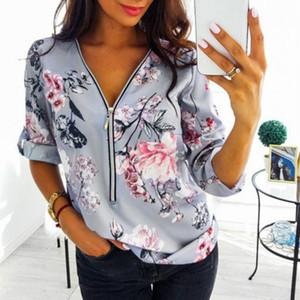 Zipper V-Neck Shirt S-5XL Plus Size Tops Work Women Blouses Cotton New Fashion Fit Vintage Floral Print Shirts Dot Mujer Blusas