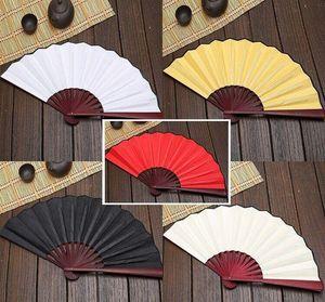 100pcs Large 27cm 33cm Folding Fan Black White Cloth Bamboo Hand Fans DIY Craft Art Planting Ornaments Men's Outdoor Handfan gift