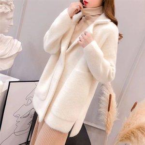 Осенью и зимняя новая женская с длинными рукавами меховая пальто норки свободный легкий сопоставляющийся толстый кардиган мода твердого цвета