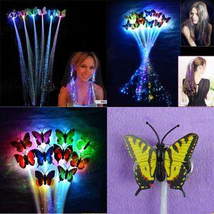 Schmetterlings-Glasfaser-Faser-LED-LED-Licht-Leuchter Flash-Zopf Sieben Farben Flash-Pigtail-Geburtstags-Party Cheer heißer Verkauf 0 85xq J1