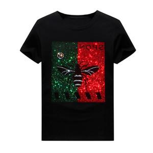 Erkek Üstleri Sıcak Rhinestone Kısa Kollu Tasarımcı T-shirt Yaz Ekip Boyun Hip Hop Rahat Tee Modal Kumaş