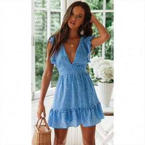 Summer new womens dress fashion sexy V neck floral boho beach dress ruffled waist strap short dress