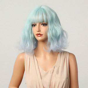 Cute Cosplay Lolita Wigs For Women Sky Blue Synthetic Wavy Ombre Wig With Bangs