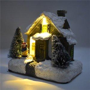 Alta Qualidade Figurines Festival americano Europeia Natal Obra Início Decoração de incandescência Casa pequena para Christm