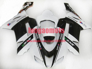 Injection Molding motocicleta capota branca preta para a Kawasaki ZX6R 07 08 Ninja ZX 6R ZX636 636 ZX6R 2007 2008 Kits Body carenagens