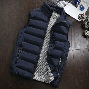 Мужская куртка без рукавов зимы Stand Collar вскользь тонкий Пальто Одежда хлопка-проложенный мужской жилет Мужчины Жилет большого размера