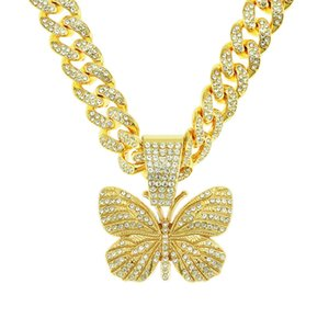 New Arrival Iced Out Bling Cuban Link Chain Gold Butterfly Pendant Necklaces Choker women Hip Hop jewelry