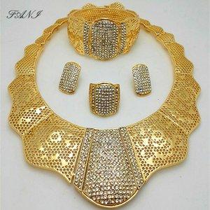 Fani nigerian wedding woman accessories jewelry set Wholesale fashion african beads jewelry set dubai gold color