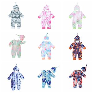Kids Clothes Tie Dyed Baby Boys Romper Long Sleeve Infant Girls Jumpsuit Hat 2pcs Sets Boutique Baby Casual Romper Fashion Clothing BT5945