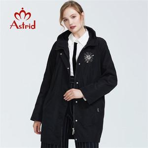 Astrid otoño nueva llegada Top Grey Trench abrigo Soporte Cuello Medio longitud suelta mujer moda trinchera abrigo con cremallera LJ200903