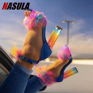 Nasula 2020 Sandalias de tacón alto para mujer Sandalias de verano Zapatos al aire libre colorido Chunky Heel Sexy Fashion Fish Boot más Tamaño 46 LJ201112