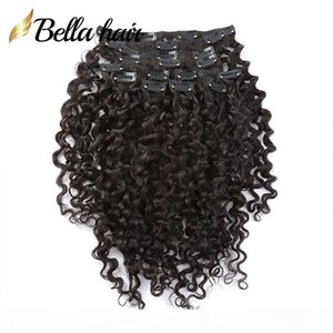 Bella Hair? Clip In Hair Extensions 100% Human Hair Weaves Weft Natural Black Color Deep Curly Wave 12-30 inches 160g set New Arrival