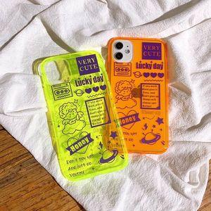 Le dernier cas de téléphone portable créatif Color fluorescent Color Iphone 11 Anti-Dressage Apple 7 / 8plus / XR Font TPU Silicone Soft Shell