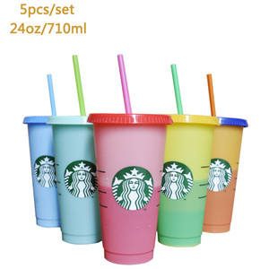 24OZ Color Change Tumblers Plastic Drinking Juice Cup With Lip Straw Magic Coffee Mug Costom Starbucks color changing plastic cup dining bar