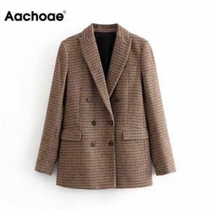 Aachoae Weinlese-beiläufig Plaid Blazer Frauen arbeiten zweireihige Büro-Damen-Jacken-Mantel Reverskragen Langarm-Anzüge 200929